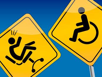 2 Schilder, auf dem einen Mensch im Bürostuhl wird vom Mensch im Rohlstuhl weggestoßen