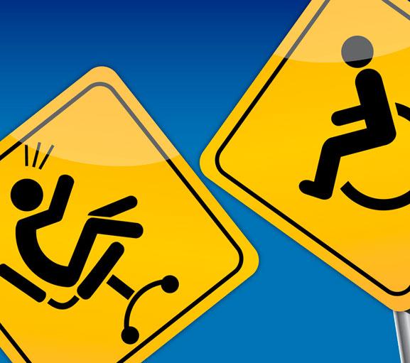 Erwerbsminderungsrente, finanzielle Absicherung von der Deutschenrentenversicherung. Bild Piktogramm Bürostuhl der von einem Rollstuhl weggestoßen wird.
