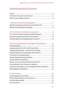 Einblick in das Inhaltsverzeichnis des Ratgeber zur Flexi Rente von rentenbescheid24.de, denn Wissen heißt wissen, wo es steht.